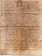 Acte Notarial Notaire Vente Manuscrit Sur Parchemin Thenay Cachet Généralité Tours Dix Sols 4 P.1682 - Manuscripts