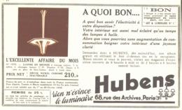 """PUB  LUMINAIRES LUSTRES  """"ART DECO """" """" HUBENS """"   1936 ( 25 ) - Luminaires"""