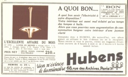 "PUB  LUMINAIRES LUSTRES  ""ART DECO "" "" HUBENS ""   1936 ( 25 ) - Lamps"