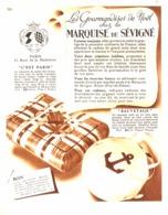 """PUB  CHOCOLATS Et CONFISERIES   """" MARQUISE De SEVIGNE """"   1936 ( 3 ) - Chocolat"""