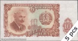 TWN - BULGARIA 83a - 10 Leva 1951 DEALERS LOT X 5 - Prefix BM AU/UNC - Bulgaria