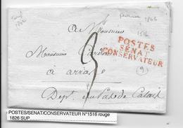 1806 - LETTRE Avec MARQUE POSTES SENAT CONSERVATEUR à PARIS => ARRAS (PAS DE CALAIS) - 1801-1848: Precursors XIX
