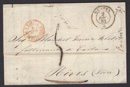 Pli De GENOVA 1852 En Port Du à 5 Décime Avec CàDate GENOVA + Rouge SARD. 1 Pt-DE-BEAUVOISIN 1  Pour RIVES - Marcophilie (Lettres)