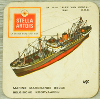 Sous-bock STELLA ARTOIS Marine Marchande Belgique Belgie Koopvaardij 24 Alex Van Opstal CMB 1942 Bateau Bierviltje (CX) - Sous-bocks
