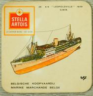 Sous-bock STELLA ARTOIS Marine Marchande Belgique Belgie Koopvaardij 28 Leopoldville 1929 CMB Bateau (CX) - Bierviltjes