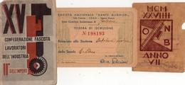 ITALIA  Fascismo   Tessere  Lotto Di 3 Tessere - Vecchi Documenti