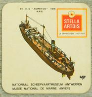Sous-bock STELLA ARTOIS Musée National Marine Anvers Scheepvaartmuseum Antwerpen 23 Ampetco 1918 APC Bateau (CX) - Bierviltjes