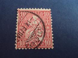 """1862- Helvetia Assise - Oblitéré    - N°  43     """" 10c Rose   """"     Cote 1       Net           0.30 - 1862-1881 Helvetia Assise (dentelés)"""