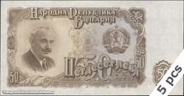 TWN - BULGARIA 85a - 50 Leva 1951 DEALERS LOT X 5 - Prefix AA AU/UNC - Bulgaria