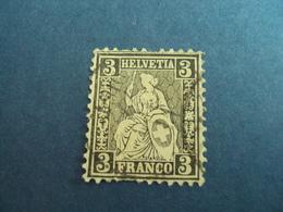"""SUISSE -1862- Helvetia Assise - Oblitéré    - N°  34- 2 ème Choix     """"  3c Noir  """"  Côte    60    Net     6 - Used Stamps"""