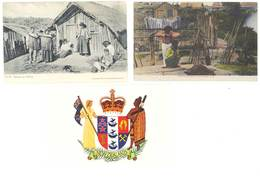 3 Cp Nouvelle Zélande - Maories Cooking ..., Maoris At Home, Tha Arms .. ( S. 3262 ) - New Zealand