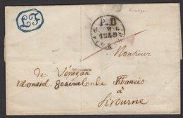 Pli De FIRENZE1849 En Port Payé Avec CàDate P.D 6. MAG 1849 FIRENZE  Pour LIVORNO - Italy