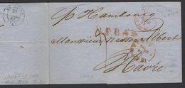 Pli De ROTTERDAM 1851 En Port Du Avec CàDate ROTTERDAM 22/3 + En Rouge LP.B.4.R + PAYS BAS LE HAVRE Pour LE HAVRE - Pays-Bas