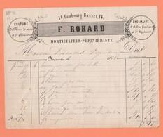 FACTURE F. ROHARD 14 Fg BASSET HORTICULTEUR PEPINERISTE FLEURS DE SERRE ARBRES FRUITIERS A BEAUVAIS - France