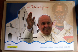 """ITALY, 2018 OFFICIAL FOLDER POPE FRANCESCO """"TOGETHER FOR THE MIDDLE ORIENT"""" - 6. 1946-.. Repubblica"""