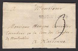 PYRENEES ORIENTALES: Pli De PERPIGNAN De 1735 En Port Du à 3 Sol Avec Marque Linéaire DEPERPIGNAN Pour NARBONNE - Marcophilie (Lettres)