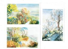 """Lot 3 Cpm - Aquarelle Jeanine POUYET """"Le Maquis"""" L'hiver S'enfuit Nature Multicolore - - Paintings"""