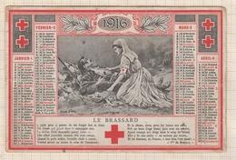 8AK3755 Calendrier Petit Format 11.5 8 Cm CROX ROUGE SECOURS AUX BLESSES 1916 Pliure  2  SCANS - Calendars
