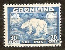 Groenland Greenland  1938 1946 Yvertnr 7  (*) MLH Cote  12,50 Euro Faune - Groenland