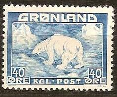 Groenland Greenland  1938 1946 Yvertnr 8  (*) MLH Sans Gomme Cote  35 Euro Faune - Groenland
