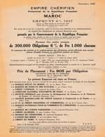 MAROC Empire Chérifien  Emprunt 1937 Garanti Par Gouvernement Français      A83 - Factures & Documents Commerciaux