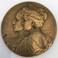 Médaille Bronze. Alphonse XIII Et Victoria D'Espagen Inauguration Palace Hôtel Madrid 1912. G. Devreese. 70 Mm - Professionals/Firms