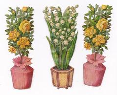 Lot De 4 Chromos Découpis, Fin XIXe Siècle, Pots De Fleurs, Roses, Muguet - Découpis
