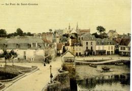 56 AURAY - Le Pont De Saint-Goustan - Belle Carte Couleur Façon Toilée - Auray