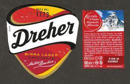 ITALIA - Etichetta Birra Beer Bière DREHER Birra Lager - Valle D'Aosta Monte Bianco - Beer