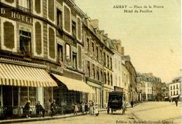 56 AURAY - Place De La Mairie - Hôtel Du Pavillon - Belle Carte Animée, Couleur Façon Toilée - Auray