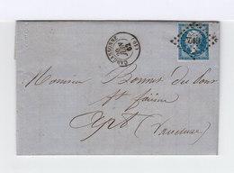 Sur Lettre Napoléon III Empire Franc Oblitéré Losange Petits Ch. CAD Carcassonne. Cahets Ambulant, Apt Et Avignon. (850) - Marcophilie (Lettres)