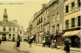 56 AURAY - La Place De La Mairie - Belle Carte Animée, Commerces... - Couleur Façon Toilée - Auray