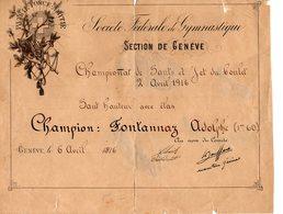 DIPLOME De La SOCIETE FEDERALE De GYMNASTIQUE De GENEVE Du 06 Avril 1916 - Athlétisme