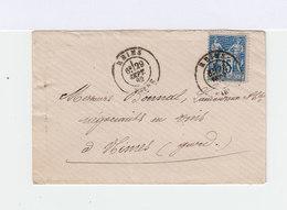 Sur Enveloppe Type Sage 15 C. Bleu Oblitéré CAD Reims 1882. Vers Nîmes: CAD. (851) - Marcophilie (Lettres)