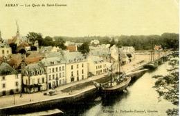 56 AURAY - Les Quais De Saint-Goustan - Belle Carte, Couleur Façon Toilée - Auray