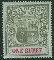 MAURITIUS 1902 1r Grey-black & Carmine Watermark Crown CC SG 153 Mounted Mint - Mauritius (...-1967)