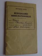 """Burgerlijke MOBILISATIEBOEKJE """" WUYTS Mathieu 1909 Neerpelt ( N° ID 645347 Antwerpen ) 1936 Schipper ( ++ EXTRA DOCU ) ! - Documenten"""