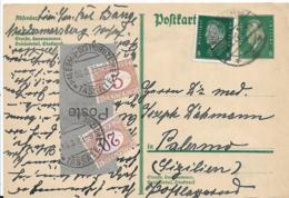 WGA361 / DEUTSCHES REICH -   P 181 I Mit  Zusätzlicher 8 Pfg. Ebertmarke Nach Sizilien 1929, Strafporto 25 C. - Briefe U. Dokumente