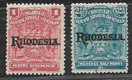 S.Rhodesia / B.S.A.Co, 1909, 1d, 2 1/2d, Opt RHODESIA, MH * - Rhodésie Du Sud (...-1964)
