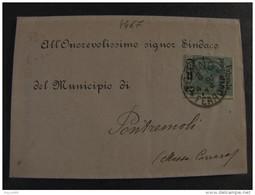 """4467 ITALIA Regno-1890- """"Pacchi Sopr."""" C. 2 Su 75 TORINO>PONTREMOLI (descrizione) - 1878-00 Umberto I"""