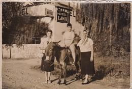 BURRO DONKEY ANE BOY GARÇON NIÑO & FEMMES WOMEN MUJERES. HOTEL LINA, CORDOBA, ARGENTINE. SIZE 14x10cm CIRCA 1940-BLEUP - Photos