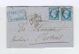 Sur Lettrepaire De Napoléon III Empire Franc 20 C. Bleus Oblitérés Losange. CAD Marseille 1858. Vers Pertuis: CAD. (854) - Marcophilie (Lettres)