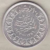 Egypte. 10 Piastres AH 1356 – 1937. Roi Farouk. Argent. KM# 367 - Egypte