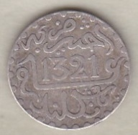 Maroc . 1/2 Dirham (1/20 RIAL) AH 1321 Londres . Abdül Aziz I , En Argent - Maroc