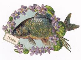 Jolie Chromo Découpi Gaufrée, Fin XIXe Siècle, Poisson 1er Avril, Violettes. Rehauts De Doré - Bloemen