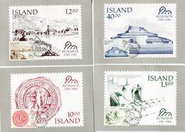 Iceland/Islande/Ijsland/Island Lot Of 4 Postcards Reykjavík Bicentenary 1986 Matching Stamps And Cancel - Iceland