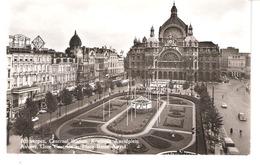 ANVERS-ANTWERPEN-Hoofstatie-Centraal Station-Gare Centrale-Koningin Astridplein-Autocar-Autobus-Echte Foto - Antwerpen