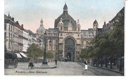ANVERS-ANTWERPEN-Hoofstatie-Centraal Station-Gare Centrale-Tram-Tramway-Strassenbahn-Attelage-+/-1910-colorisée - Antwerpen