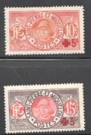 1915-7  Les Deux Timbres Croix Rouge Yv 105-6 * - St.Pierre & Miquelon