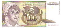Yugoslavia  P-108  100 Dinara  1991  UNC - Yugoslavia